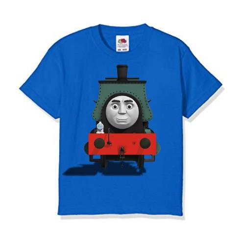 Blue angry train Kid's Printed T Shirt