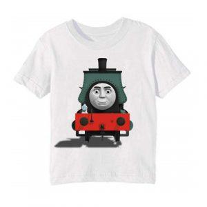 Printe5 White angry train Printed Kid's T Shirt