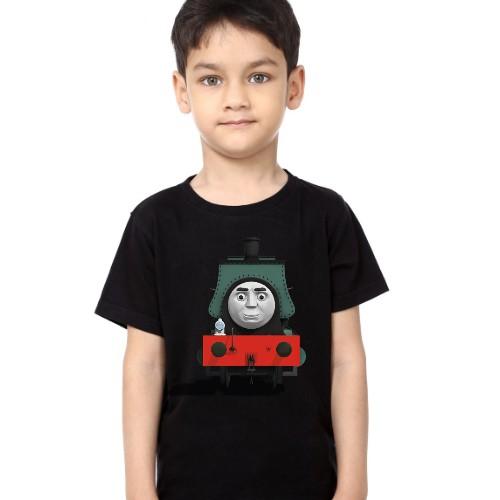 Black Boy angry train Kid's Printed T Shirt