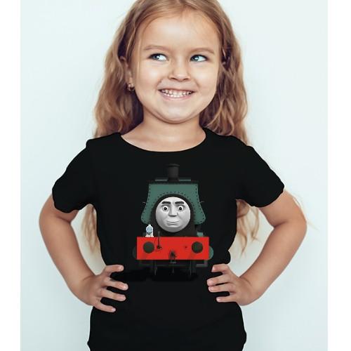 Black Girl angry train Kid's Printed T Shirt