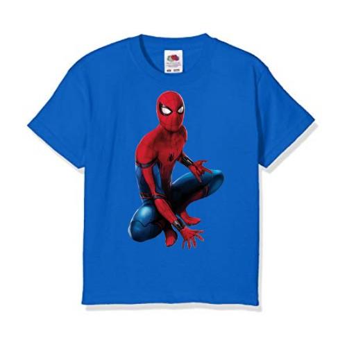 Blue sitting spider man Kid's Printed T Shirt