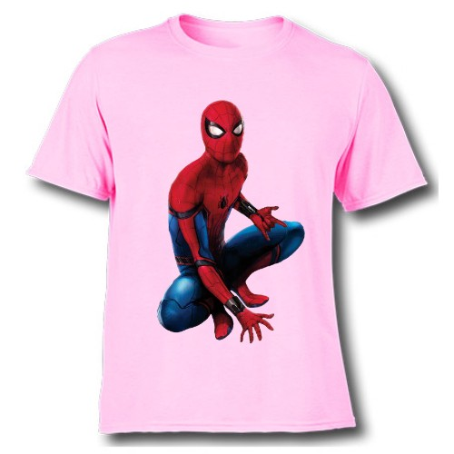 Pink sitting spider man Kid's Printed T Shirt