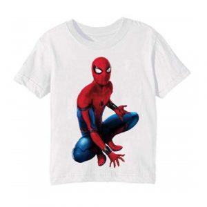 White sitting spider man Kid's Printed T Shirt