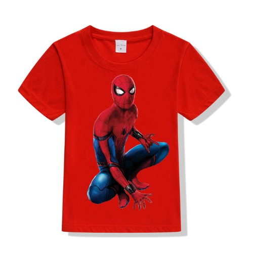 Red sitting spider man Kid's Printed T Shirt