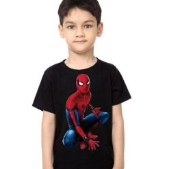 Black Boy sitting spider man Kid's Printed T Shirt