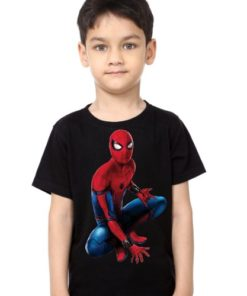 Black Boy sitting spider man Kid's Printed T Shirt
