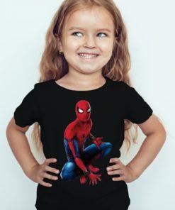 Black Girl sitting spider man Kid's Printed T Shirt