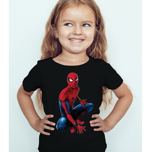 Black Girl sitting spider man Kid's Printed T Shirt