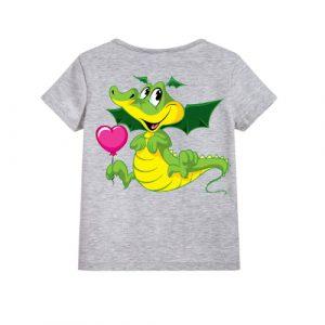 Grey china dragan in green Kid's Printed T Shirt