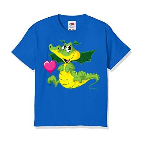 Blue china dragan in green Kid's Printed T Shirt