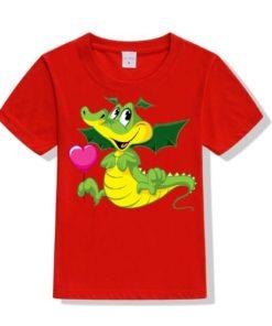 Red china dragan in green Kid's Printed T Shirt