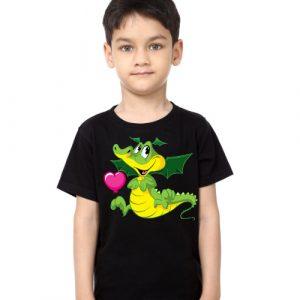 Black Boy china dragan in green Kid's Printed T Shirt