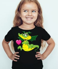 Black Girl china dragan in green Kid's Printed T Shirt