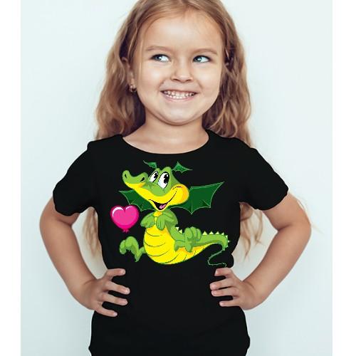 Black Girl china dragan in green Kid's Printed T Shirt