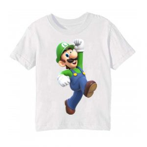 White Super Mario Kid's Printed T Shirt