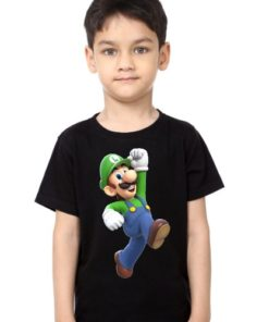 Black Boy Super Mario Kid's Printed T Shirt