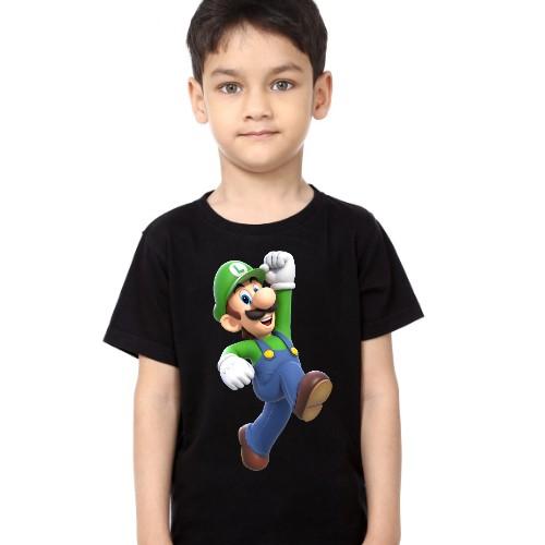 Black Boy Super Mario Kid's Printed T Shirt