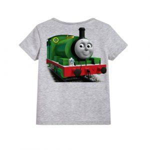 Grey Smiley Train Kid's Printed T Shirt