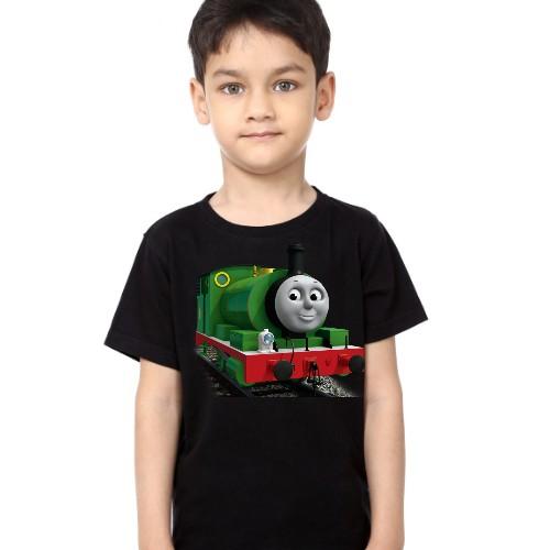Black Boy Smiley Train Kid's Printed T Shirt
