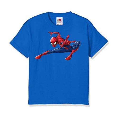 Blue Swinging Spider man Kid's Printed T Shirt