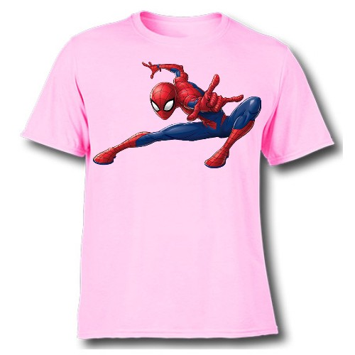 Pink Swinging Spider man Kid's Printed T Shirt