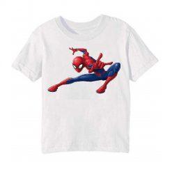 White Swinging Spider man Kid's Printed T Shirt