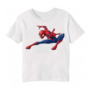 White Swinging Spider man Kid's Printed T Shirt