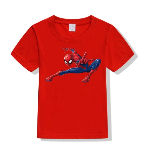 Red Swinging Spider man Kid's Printed T Shirt