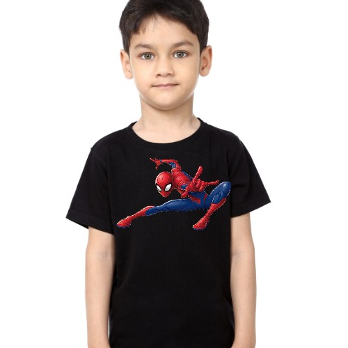 Black Boy Swinging Spider man Kid's Printed T Shirt