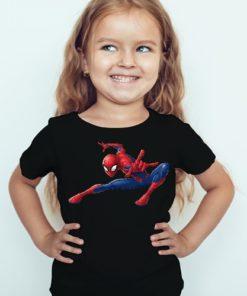 Black Girl Swinging Spider man Kid's Printed T Shirt