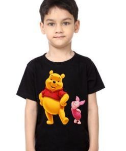 Black Boy Teddy & Rabbit Kid's Printed T Shirt