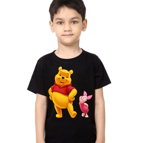 Black Boy Teddy & Rabbit Kid's Printed T Shirt