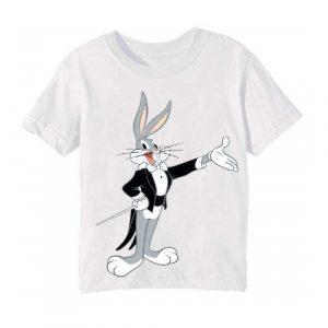 White Musician Rabbit Kid's Printed T Shirt
