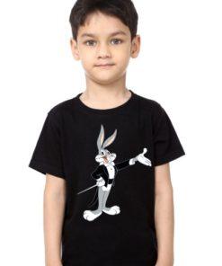 Black Boy Musician Rabbit Kid's Printed T Shirt