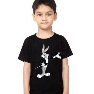 Black Boy Musician Rabbit Kid's Printed T Shirt