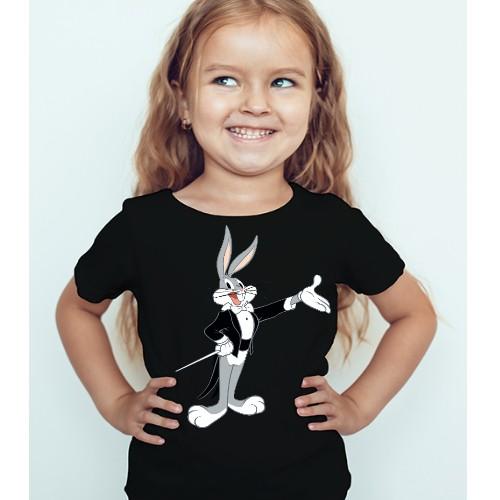 Black Girl Musician Rabbit Kid's Printed T Shirt