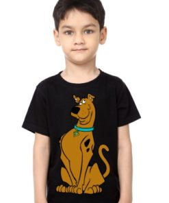 Black Boy Scooby doo Kid's Printed T Shirt