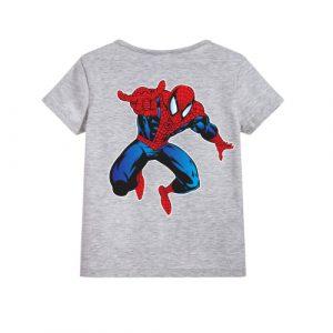Grey Aiming Spider Man Kid's Printed T Shirt