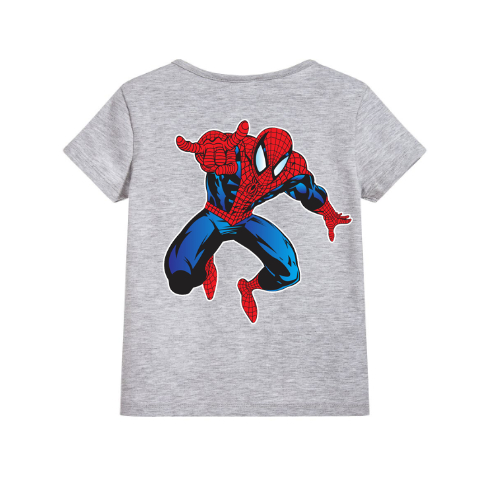 Grey Aiming Spider Man Kid's Printed T Shirt