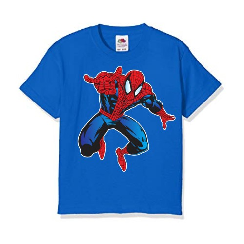 Blue Aiming Spider Man Kid's Printed T Shirt