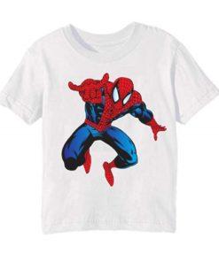 White Aiming Spider Man Kid's Printed T Shirt