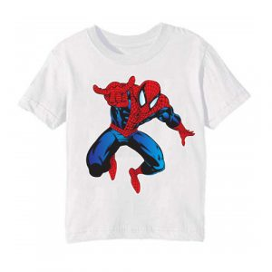 Printe5 White Aiming Spider Man Printed Kid's T Shirt