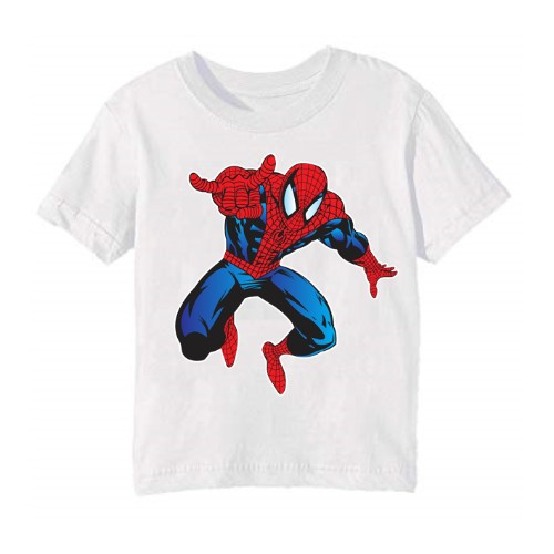 White Aiming Spider Man Kid's Printed T Shirt