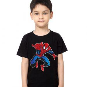Black Boy Aiming Spider Man Kid's Printed T Shirt