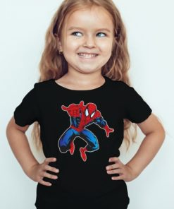 Black Girl Aiming Spider Man Kid's Printed T Shirt