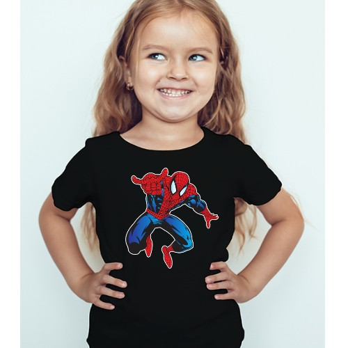 Black Girl Aiming Spider Man Kid's Printed T Shirt