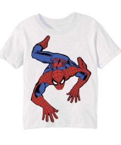 White Crawling Spider Man Kid's Printed T Shirt
