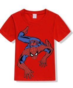 Red Crawling Spider Man Kid's Printed T Shirt