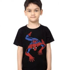 Black Boy Crawling Spider Man Kid's Printed T Shirt