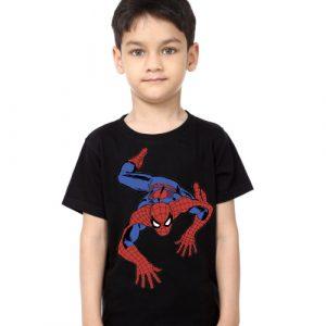 Black Boy Crawling Spider Man Kid's Printed T Shirt